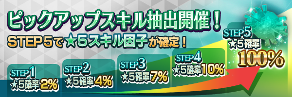 ステップ5で★5スキル確定!「ピックアップスキル抽出」開催!